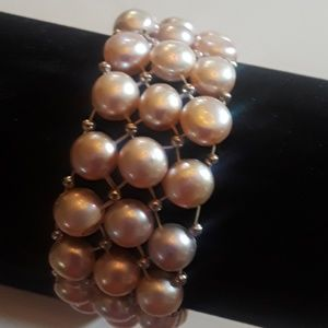 Pink Faux Pearls & Silver Accents Bracelet